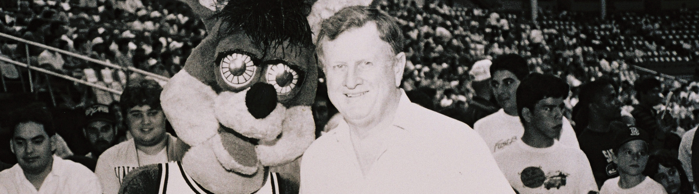 Red McCombs with the Spurs Coyote, 1973